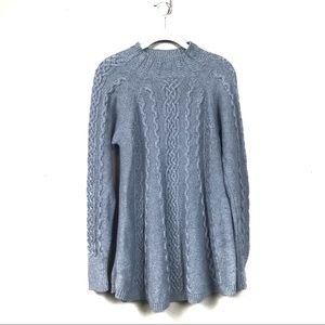 Rebecca Taylor Gray cableknit swing sweater s